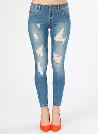 Only Only  Eskitme Tasarımlı İndigo   Denim Pantolon Renksiz